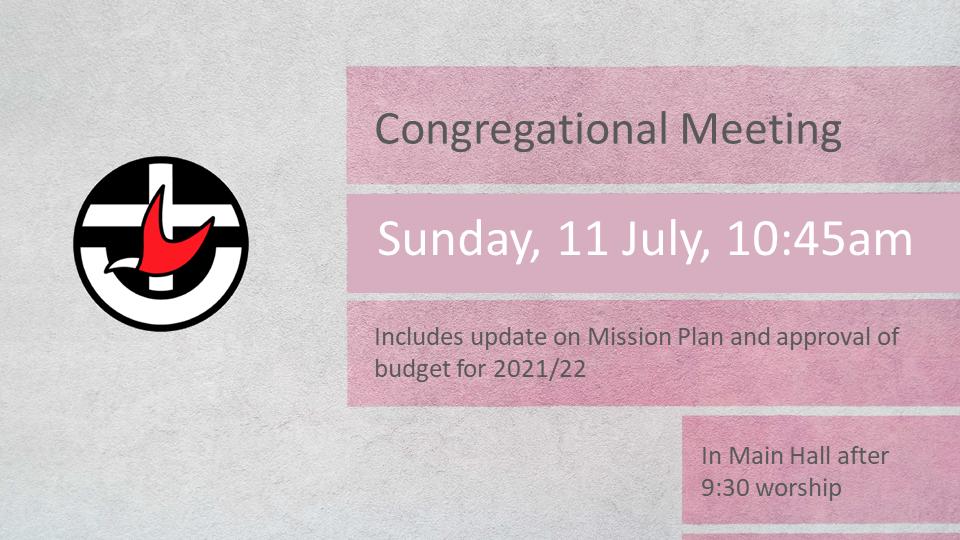 Rescheduled Congregational Meeting